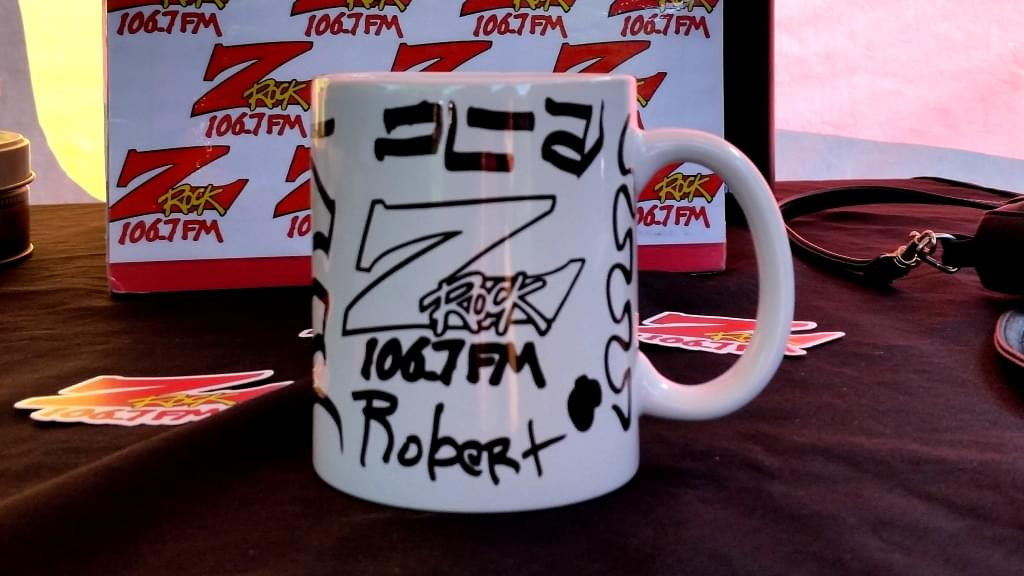 """Custom Z-Rock """"Doodle"""" mug, personalized by Tim Buc Moore at Morning Thunder Cafe on June 7th 2018 for Wake the Buc up!"""