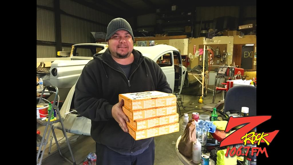 Tim Buc Moore with winner at Average Joe's Customs in Chico for the Z-Rock Munch Box