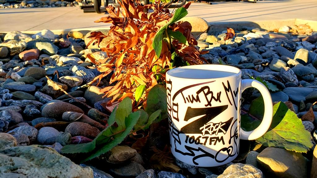 """Custom Z-Rock """"Doodle Mug"""" at Code 3 Coffee in Chico on Thursday October 24th 2019 for Wake the Buc Up on 106.7 Z-Rock"""