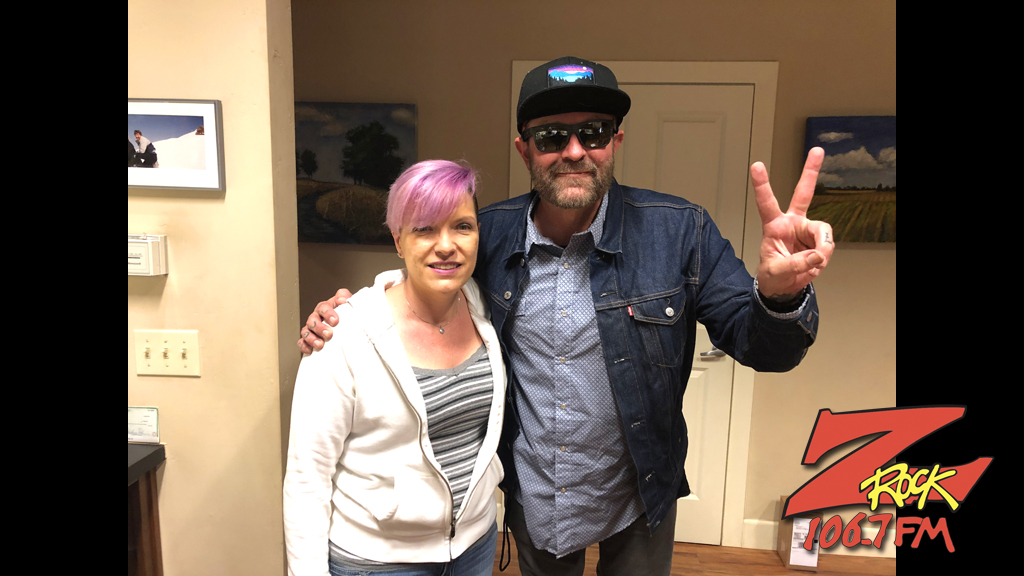 Tim Buc Moore with winner at Satava Art Glass in Chico for the Z-Rock Munch Box on 106.7 Z-Rock