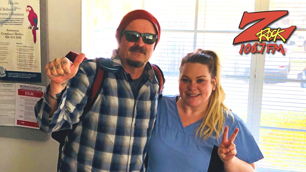 Tim Buc Moore with winner at Davita Dialysis in Chico for the Z-Rock Munch Box on 106.7 Z-Rock