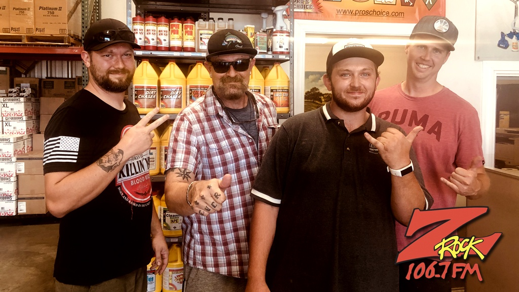 Tim Buc Moore with winners from Evergreen Supply for the Z-Rock Munch Box on 106.7 Z-Rock