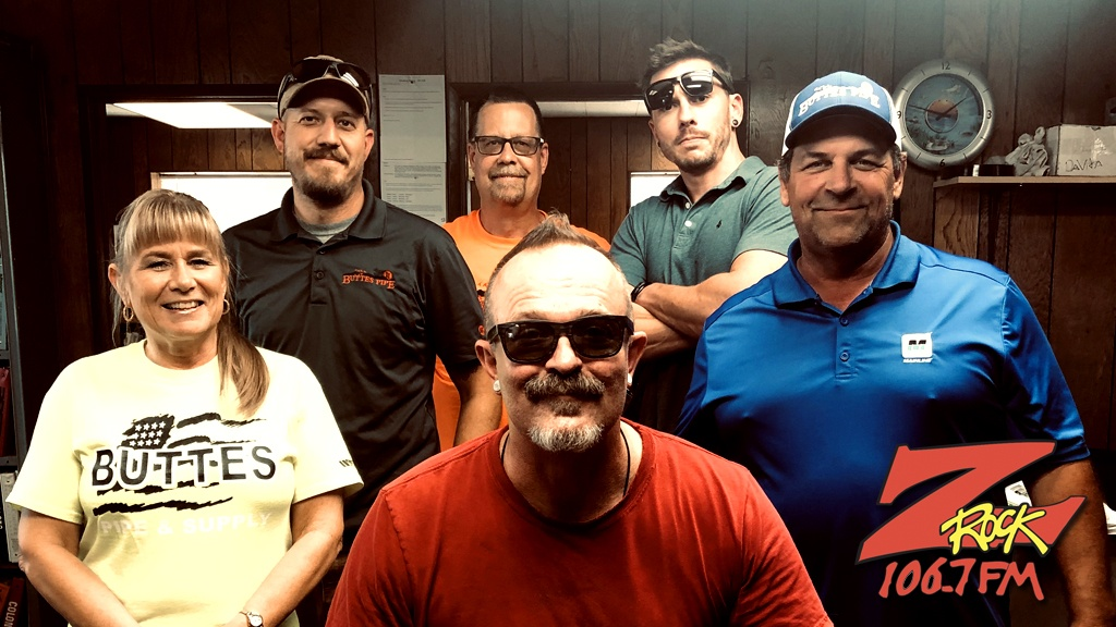 Tim Buc Moore with winners from Buttes Pipe & Supply for the Z-Rock Munch Box on 106.7 Z-Rock