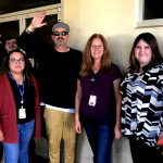 Tim Buc Moore with winners from Butte County IHSS for the Z-Rock Munch Box on 106.7 Z-Rock