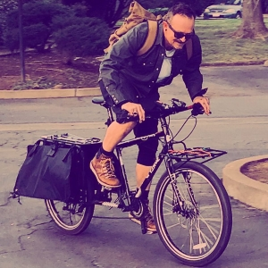 106.7 Z-Rock's morning man Tim Buc Moore riding his bike in Chico California