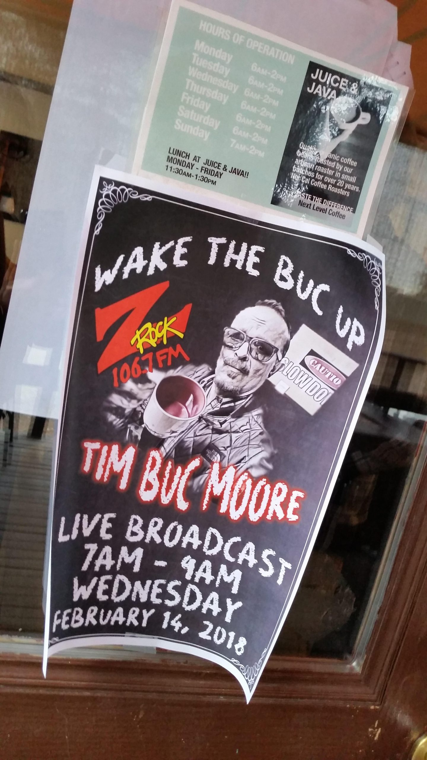 Tim Buc Moore broadcasted the morning show live from Juice and Java in Paradise for round 2 of Wake the Buc Up!