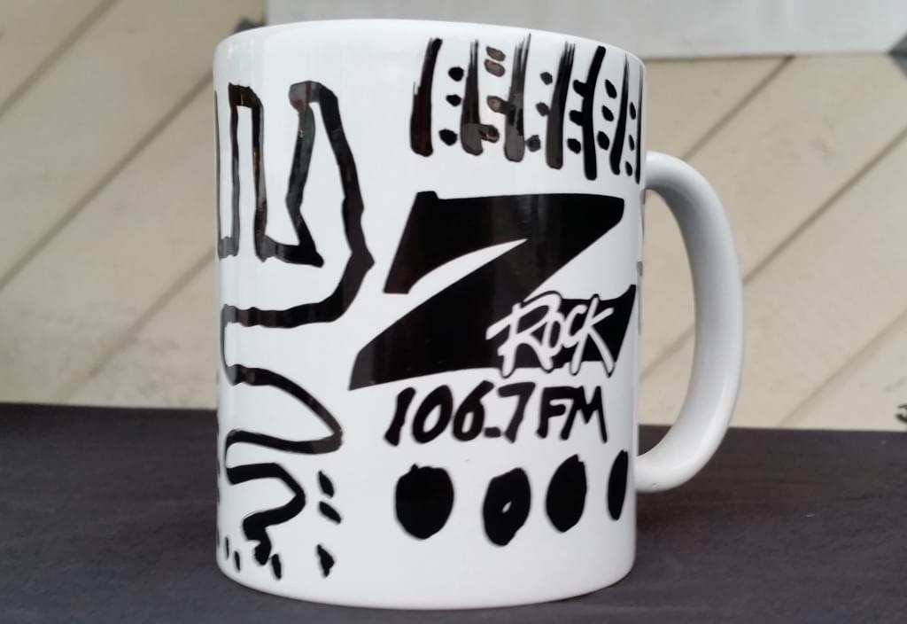 Tim Buc Moore customized Z-Rock Doodle Mug at Wake the Buc Up in North Chico at Fresh Twisted Cafe