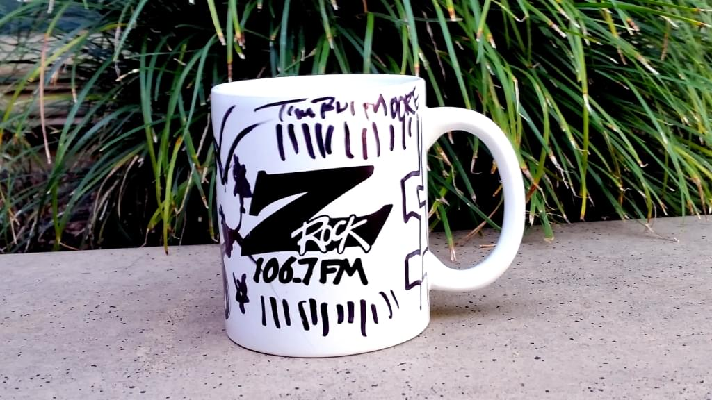 "Z-Rock ""doodle"" mug customized by morning show personality Tim Buc Moore at Wake the Buc Up 04/25/18 at Bidwell Perk in Chico"