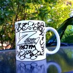 "Custom Z-Rock ""Doodle"" mug, personalized by Tim Buc Moore at Debbie's Restaurant in Paradise on June 14th 2018 for Wake the Buc up!"