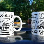 "Custom Z-Rock ""Doodle"" mugs, personalized by Tim Buc Moore at Debbie's Restaurant in Paradise on June 14th 2018 for Wake the Buc up!"