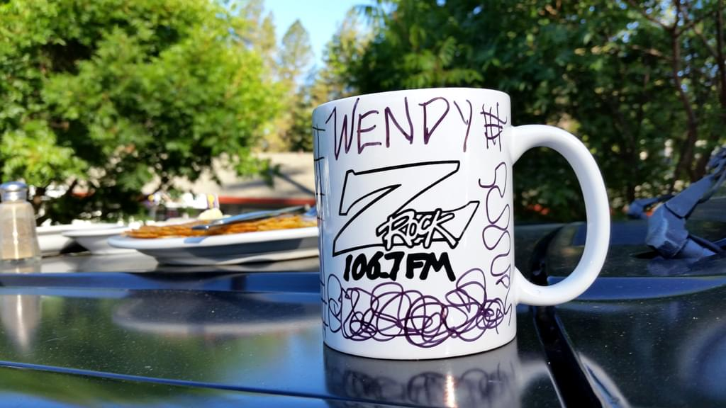 """Custom Z-Rock """"Doodle"""" mug, personalized by Tim Buc Moore at Debbie's Restaurant in Paradise on June 14th 2018 for Wake the Buc up!"""