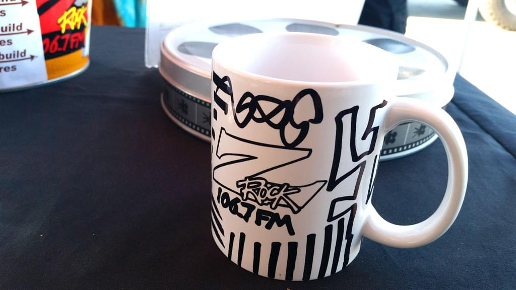 Customized Z-Rock doodle mug at Lots 'A Java in Oroville California for Wake the Buc Up with Tim Buc Moore August 16th 2018