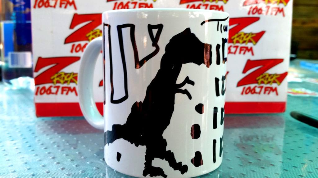 Tim Buc Moore's live morning show tour of Butte County, Wake the Buc Up Doodle Mug at Juice and Java in Paradise August 9th 2018