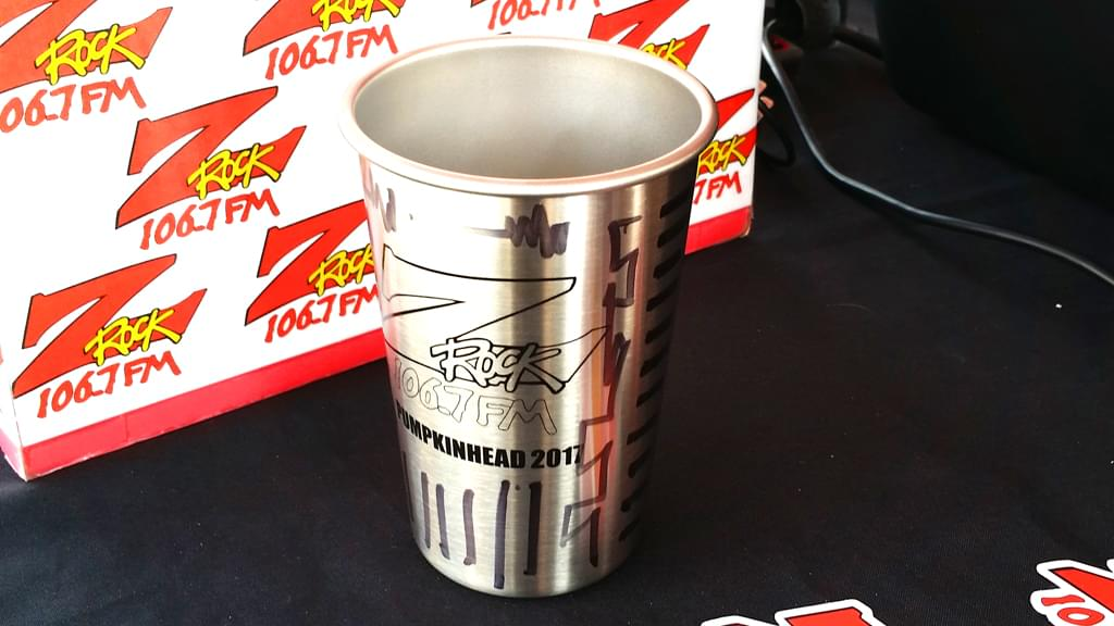 """A Klean Kanteen from Pumpkinhead 2017, customized by Tim Buc Moore after he ran out of """"doodle mugs"""" at Jeff's California Cattle Company in Redding for Wake the Buc up on August 23rd 2018"""