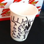 Paper cup with customized Tim Buc Moore doodles after we ran out of mugs and Pumpkinhead 2017 Klean Kanteens at Jeff's California Cattle Company in Redding for Wake the Buc Up on August 23rd 2018
