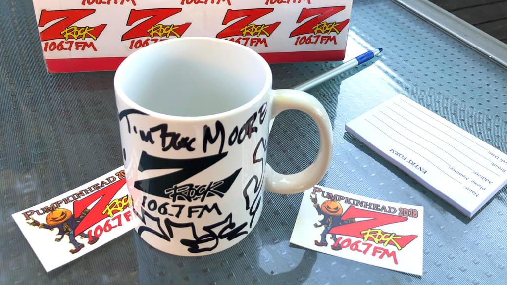 Tim Buc Moore's live morning show tour of Butte County, Wake the Buc Up Doodle Mug at Juice and Java in Paradise October 11th 2018