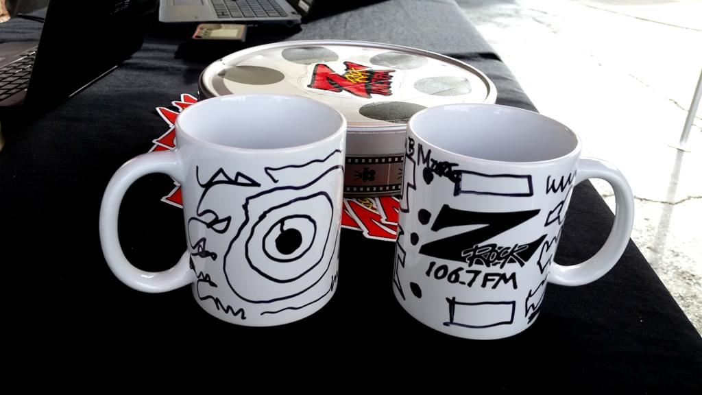 "Z-Rock ""Doodle"" mugs customized by Tim Buc Moore at Lots 'A Java in Oroville CA for Wake the Buc Up October 4th 2018"