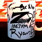 """106.7 Z-Rock customized coffee """"doodle"""" mug, signed by Tim Buc Moore for Wake the Buc Up at River's Hot Dogs December 20th 2018 in Oroville CA"""