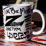 """106.7 Z-Rock customized coffee """"doodle"""" mug, signed by Tim Buc Moore for Wake the Buc Up at Fresh Twisted Cafe December 13th 2018 in Chico CA"""