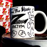 """A Z-Rock """"Doodle"""" Mug customized by Tim Buc Moore at Lots 'A Java in Oroville CA for Wake the Buc Up December 6th 2018"""