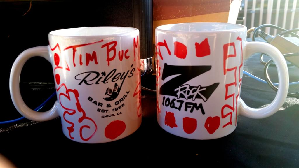 """Z-Rock """"doodle"""" mugs customized by Tim Buc Moore during Wake the Buc Up (Brought to you by Riley's) at Great Northern Coffee in Chico CA 2/21/19"""