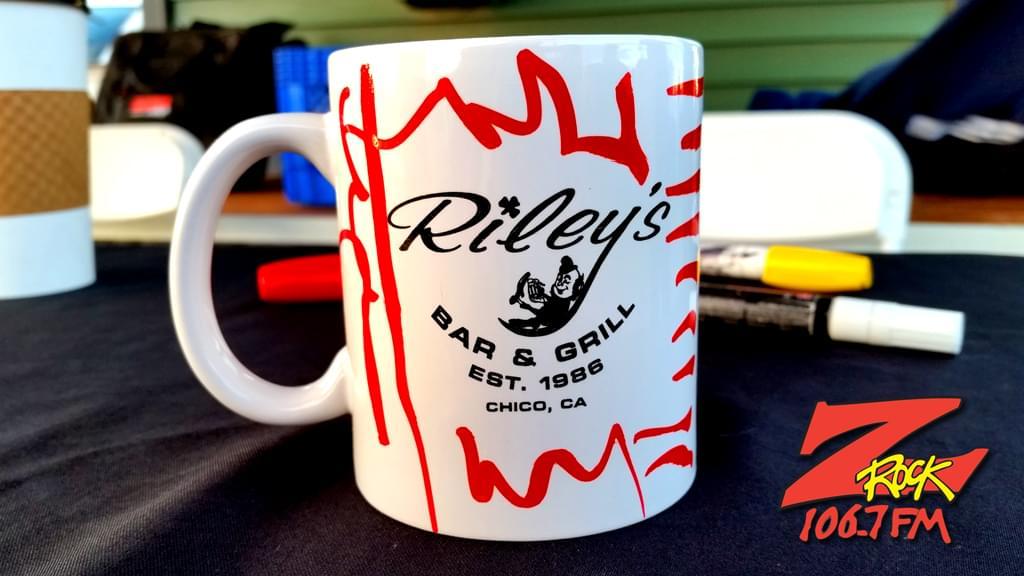 "Z-Rock ""doodle"" Mug with sponsor Riley's logo forward"