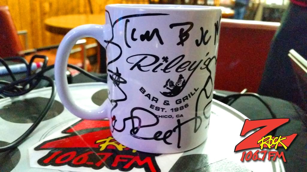 """A Z-Rock """"doodle"""" mug customized by Tim Buc Moore at Wake the Buc Up sponsored by Riley's in Oroville at Mug Shots Coffee House 2/14/19"""