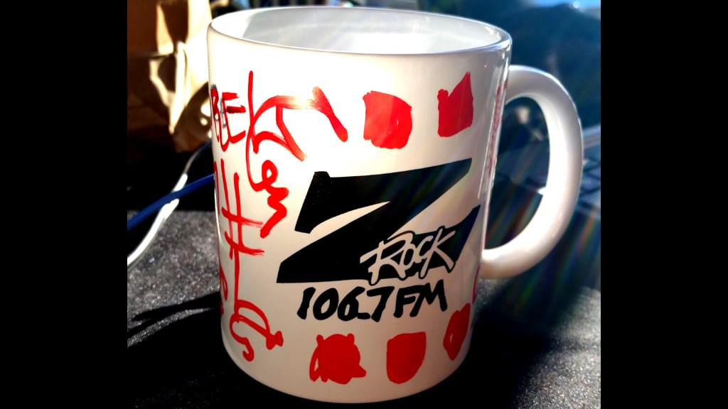 """A Z-Rock """"doodle"""" mug customized by Tim Buc Moore during Wake the Buc Up at Great Northern Coffee in Chico CA 2/21/19"""