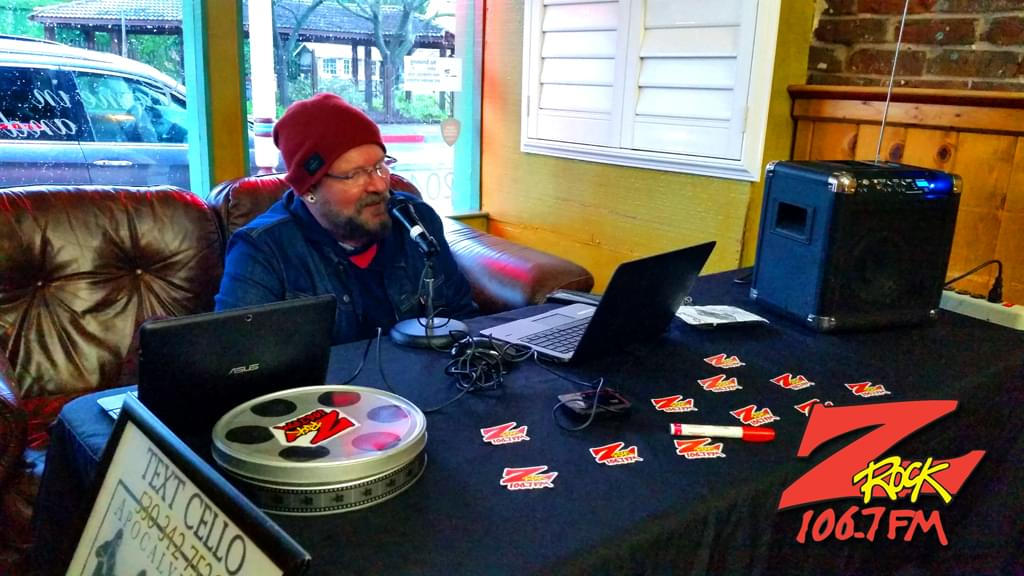 Tim Buc Moore broadcasting live for Wake the Buc Up at Mug Shots Coffee House in Oroville California 2/14/19