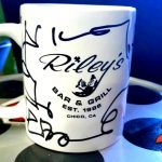 """A Z-Rock """"doodle"""" mug customized by Tim Buc Moore at Wake the Buc Up (Sponsored by Riley's) in Oroville at Mug Shots Coffee House 2/14/19"""