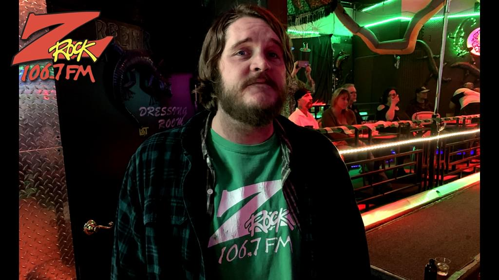 106.7 Z-Rock's Nick Anderson rocking a retro St. Paddy's Day T-Shirt at Lost on Main