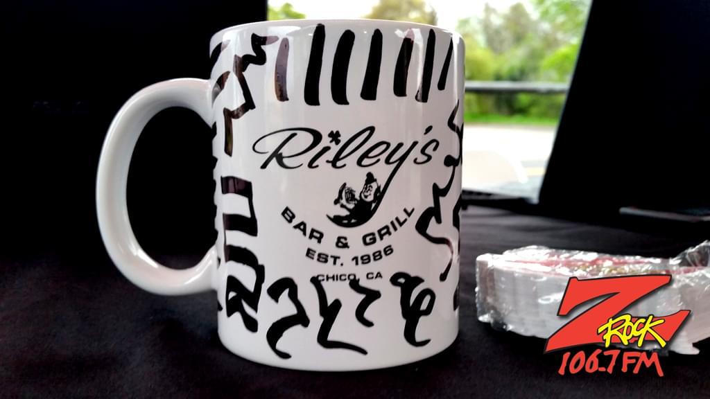 "World famous Z-Rock ""doodle"" mug signed by Tim Buc Moore for Wake the Buc up at Jenn's Cafe in Oroville sponsored by Riley's"