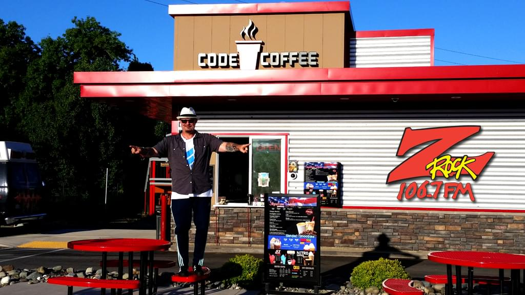 Tim Buc Moore at Code 3 Coffee in Chico California for Wake the Buc Up on 106.7 Z-Rock