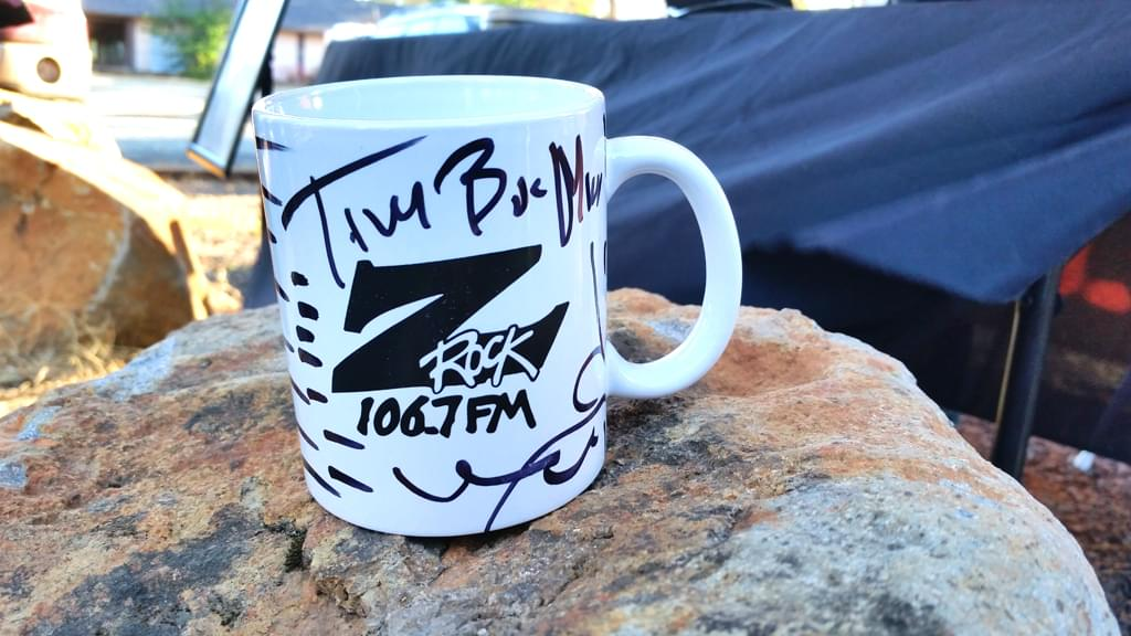 """Z-Rock """"doodle"""" mug customized by Tim Buc Moore at Wake the Buc Up in Magalia CA June 27th 2019 live on 106.7 Z-Rock"""