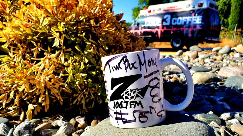 "An infamous custimized Z-Rock ""Doodle"" Mug at Code 3 Coffee in North Chico for Wake the Buc Up on 106.7 Z-Rock 8/15/19"