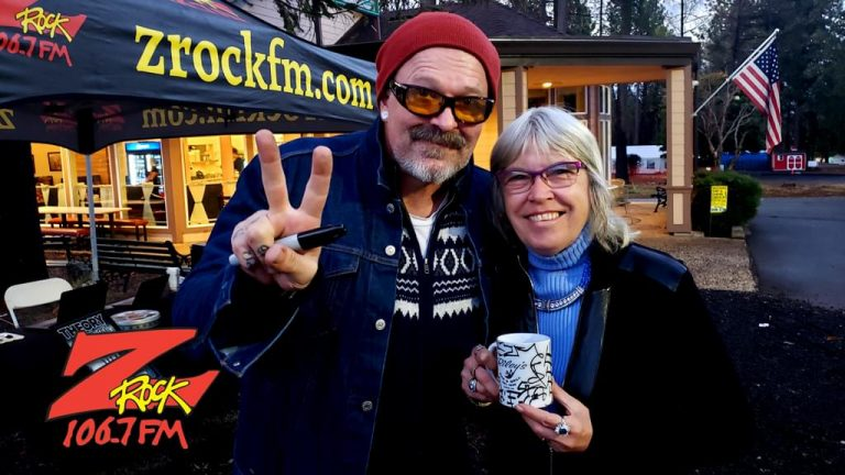 Tim Buc Moore with a loyal Buc-Head at Wake the Buc Up in Magalia for 106.7 Z-Rock at Jaki's Hilltop Cafe on October 17th 2019