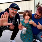 Tim Buc Moore with a junior Buc-Head at Code 3 Coffee in Chico on Thursday October 24th 2019 for Wake the Buc Up on 106.7 Z-Rock