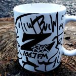 Z-Rock coffee mug customized by Tim Buc Moore's Doodles for Wake the Buc Up at Jaki's Hilltop Cafe in Magalia on October 17th 2019 on 106.7 Z-Rock