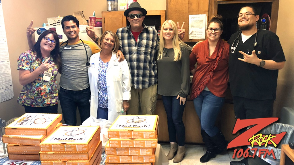 Tim Buc Moore with winner and crew at Valley Clinical Lab inside Immediate Care in Chico for the Z-Rock Munch Box on 106.7 Z-Rock