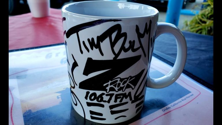"""A world famous Z-Rock """"doodle"""" mug customized by Tim Buc Moore for Wake the Buc Up 2019 at Gridley Grill & Crab Shack on 106.7 Z-Rock October 31st"""