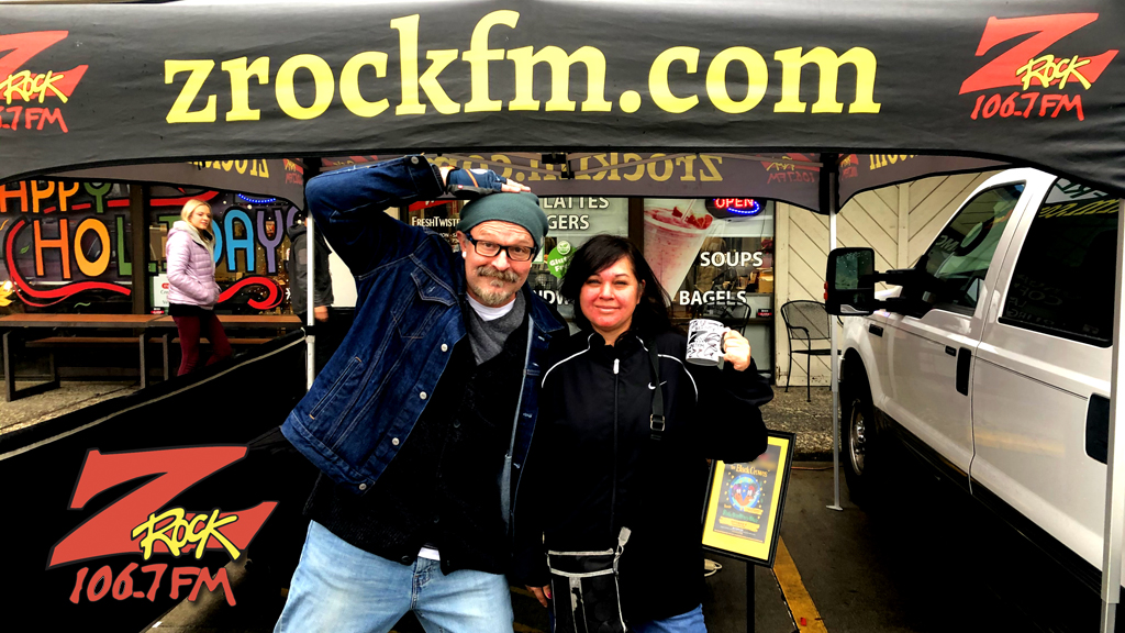 Tim Buc Moore from 106.7 Z-Rock hangs out with a Buc-Head at Fresh Twisted Cafe in Chico for Wake the Buc Up Thursday December 12th 2019