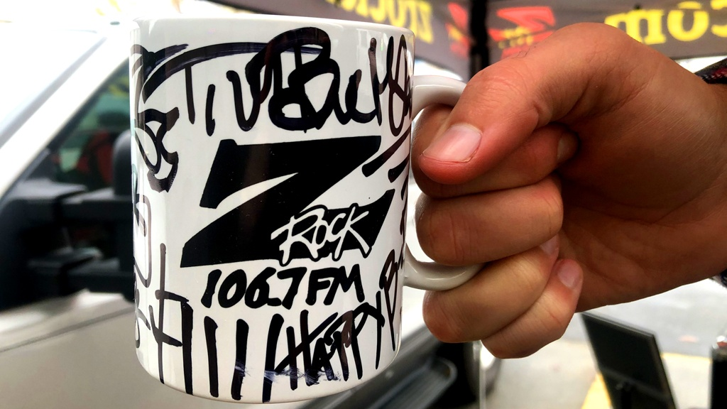 """Exclusive Z-Rock """"Doodle"""" mug, customized by Tim Buc Moore at Fresh Twisted Cafe for Wake the Buc Up Thursday December 12th 2019, sponsored by Riley's Bar in Chico"""
