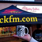 Setting up shop at Betty Cakes and Coffee for Wake the Buc Up on 106.7 Z-Rock in Oroville California