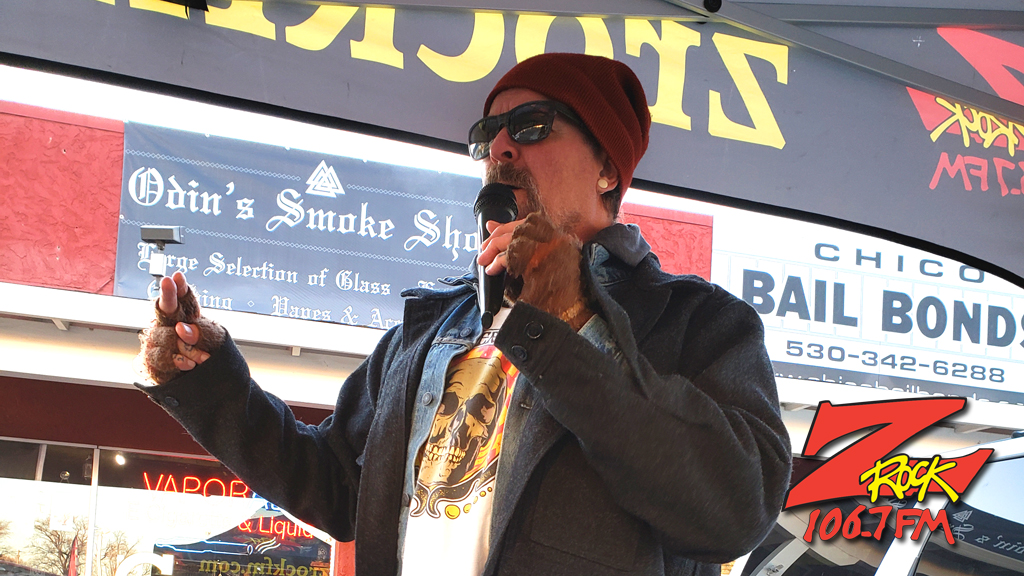Tim Buc Moore from 106.7 Z-Rock broadcasting live at Odin's Smoke Shop in Chico California for Wake the Buc Up