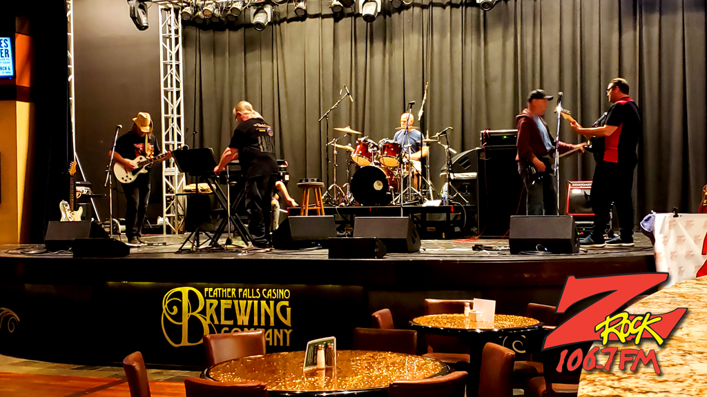 The night's entertainment doing sound check before Beer-30 on 106.7 Z-Rock during Feather Falls Fridays at Feather Falls Brewing Company in Oroville CA