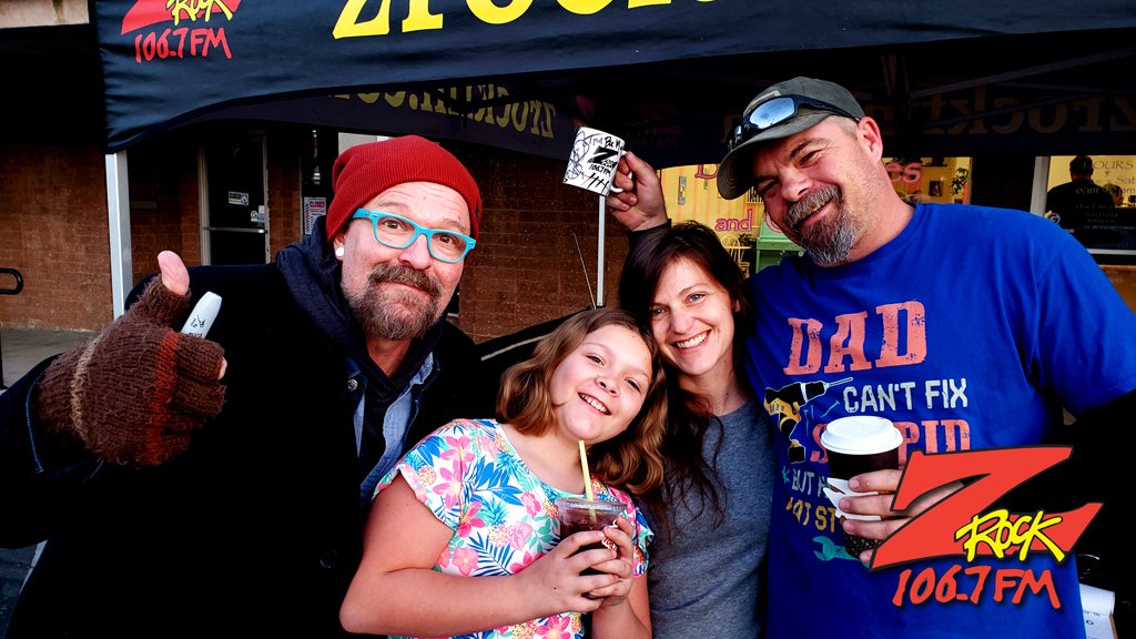 Tim Buc Moore hanging out with Buc Heads at Betty Cakes & Coffee in Oroville California for Wake the Buc Up on 106.7 Z-Rock