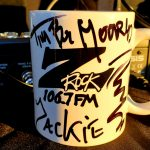 """A world famous Z-Rock """"doodle"""" mug customized by Tim Buc Moore for Wake the Buc Up at Betty Cakes & Coffee on 106.7 Z-Rock"""