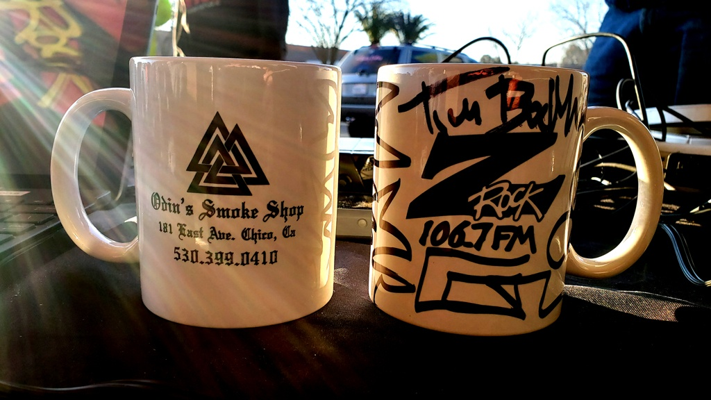 """World famous Z-Rock """"doodle"""" mugs customized by Tim Buc Moore for Wake the Buc Up at Betty Cakes & Coffee in Oroville California on 106.7 Z-Rock sponsored by Odin's Smomke Shop in Chico"""