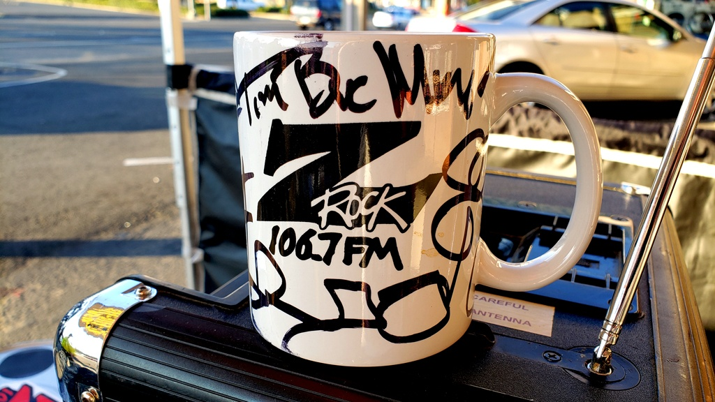 """A world famous Z-Rock """"doodle"""" mug customized by Tim Buc Moore for Wake the Buc Up at Betty Cakes & Coffee in Oroville on 106.7 Z-Rock"""