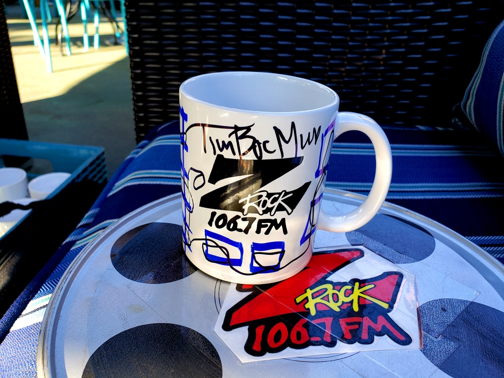 "World famous Z-Rock ""doodle"" mug customized by Tim Buc Moore at the Coffee Ranch in Chico California for Wake the Buc Up on 106.7 Z-Rock"